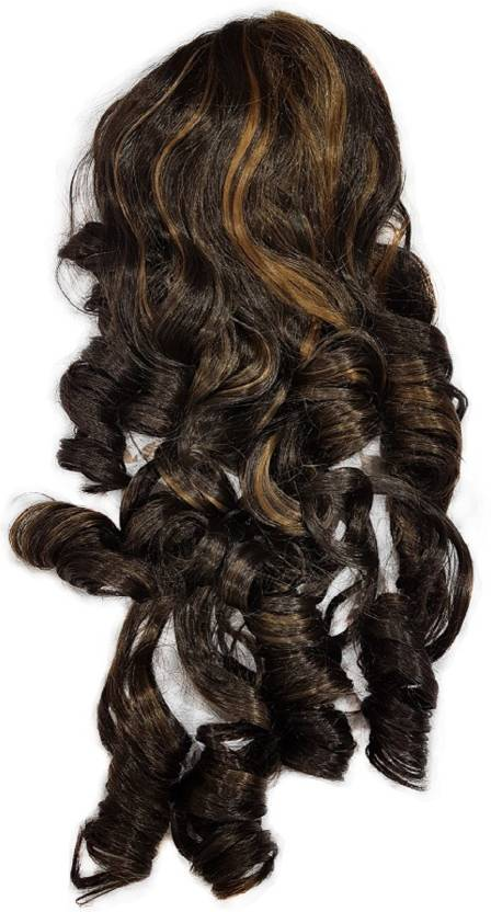 Kabello Synthetic Dark Brown With Golden Highlighting Ponytail Hair