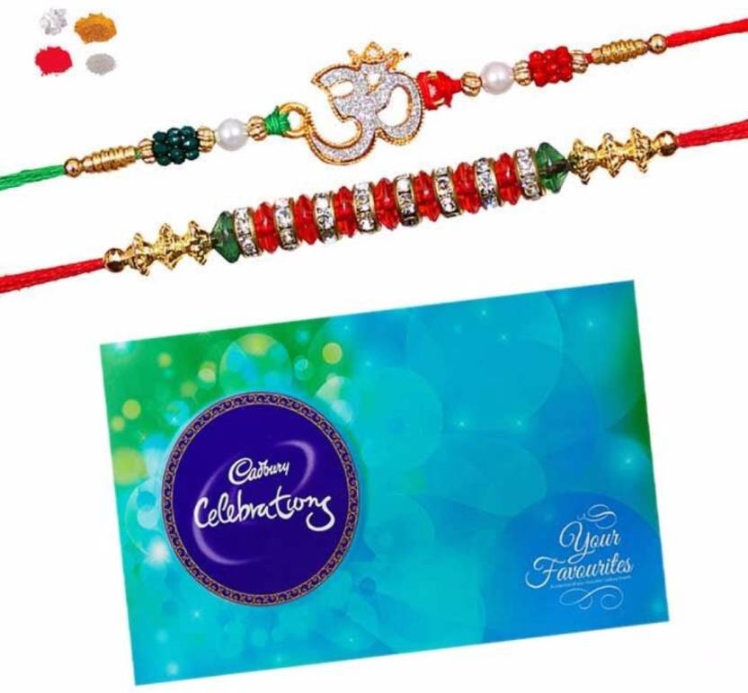 Maalpani Rudraksh Rakhi Chocolates  (1 pack Cadbury Celebration Pack, 2 Premium Handcrafted Rakhi for Brother, and (Roli + Chawal + Chandan + Misri).)- 38% OFF