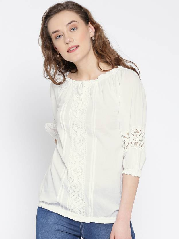 U&F Casual 3/4th Sleeve Solid Women's White Top