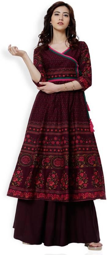 fa20e5d32c1 Vishudh Women Printed Anarkali Kurta - Buy Vishudh Women Printed ...