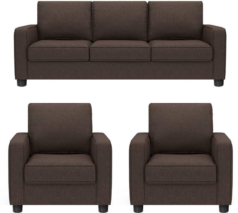 Gioteak Fabric 3 1 Brown Sofa Set