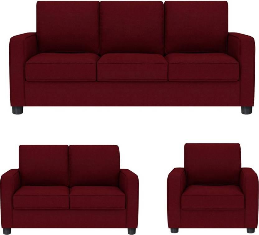 GIOTEAK Fabric 3 + 2 + 1 RED Sofa Set Price in India - Buy GIOTEAK ...