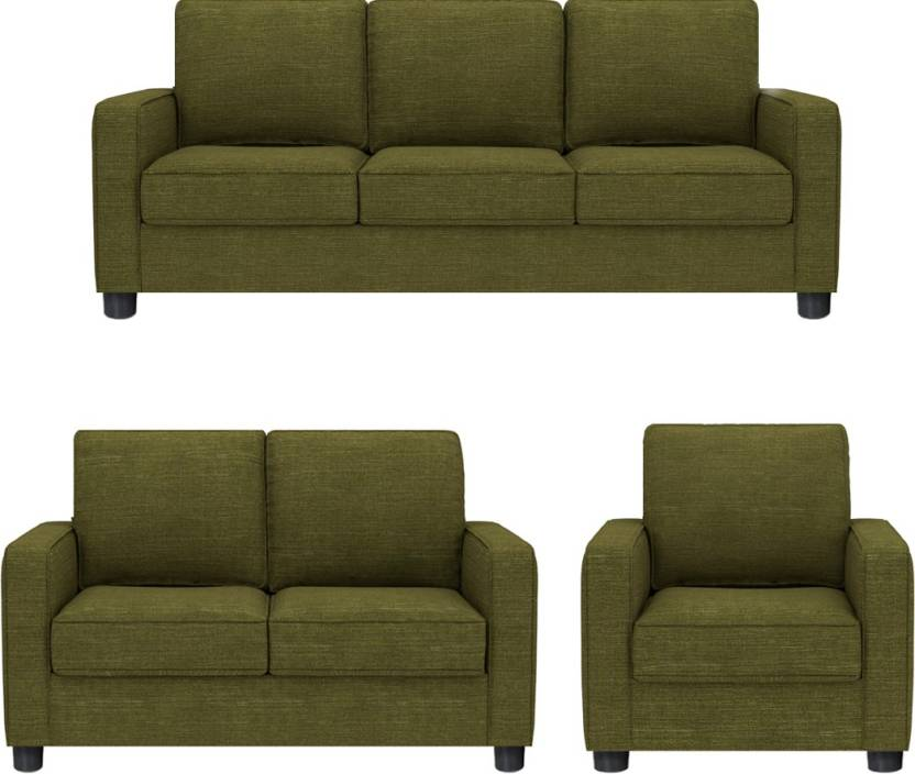 GIOTEAK Fabric 3 + 2 + 1 GREEN Sofa Set Price in India - Buy ...