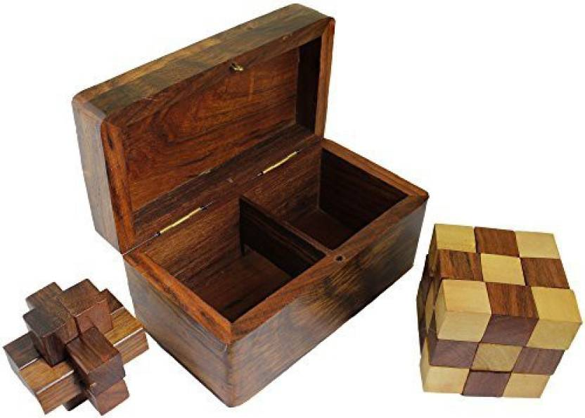 Royaltylane 2 In 1 Burr And Snake Cube Puzzle Wooden Vintage
