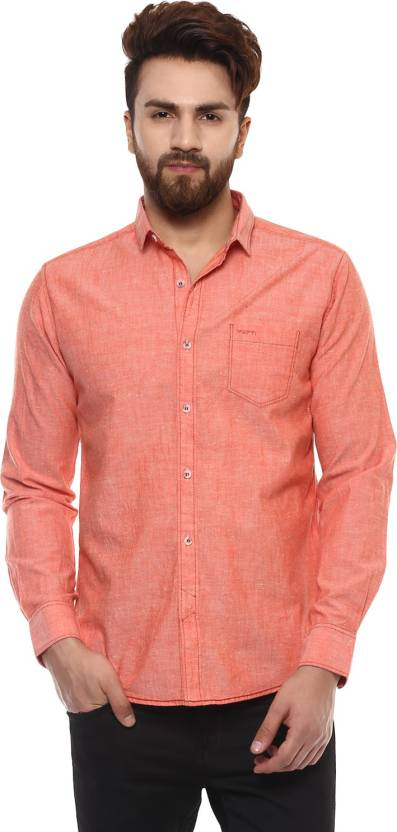 9813c1f8 Mufti Men Solid Casual Button Down Shirt - Buy 73-PEACH Mufti Men Solid Casual  Button Down Shirt Online at Best Prices in India | Flipkart.com