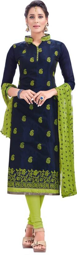 Manvaa Chanderi Embroidered Semi-stitched Salwar Suit Dupatta Material