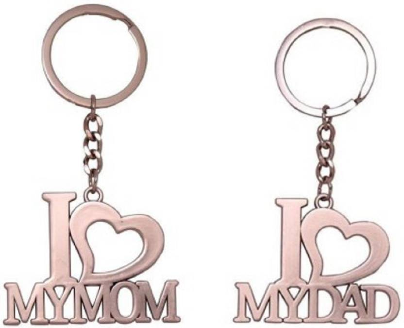 Madhuraj Combo Set Of I Love My Mom Dad High Quality Metal Key