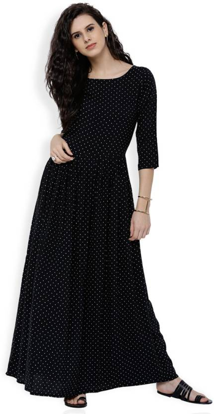 f16843bfac9a Tokyo Talkies Women Maxi Black, White Dress - Buy Tokyo Talkies Women Maxi  Black, White Dress Online at Best Prices in India | Flipkart.com