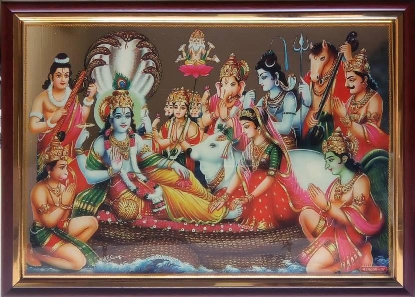Art Collection Lord Vishnu Golden Print Ink 92 Inch X 126 Inch