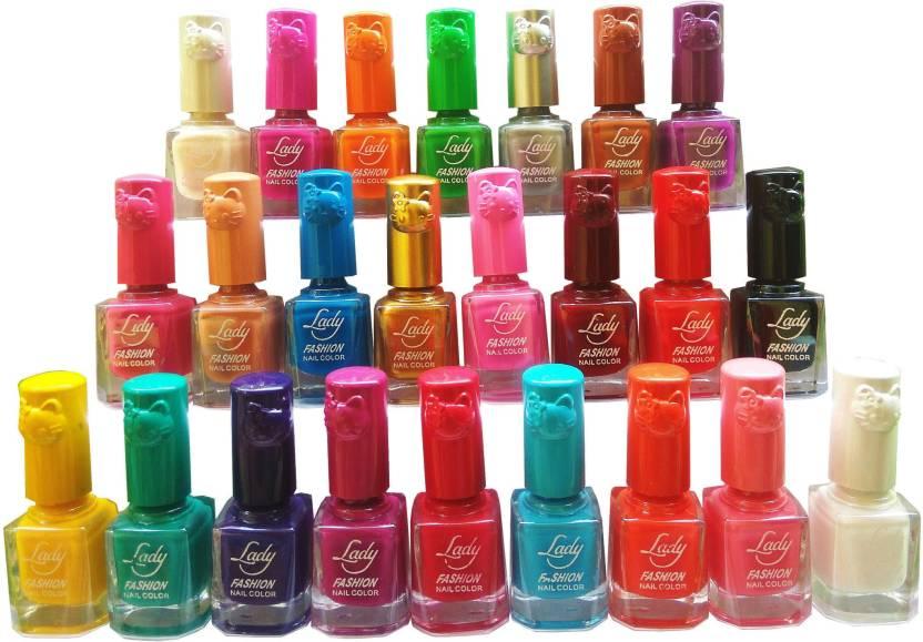 Lady Fashion matte stylish nail polish combo Red-Yellow-Pink-Black ...