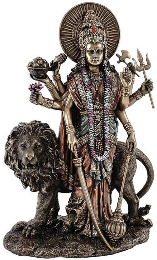 7b2ceea8ea5 Purpledip Maa Durga Hindu Goddess Tall Standing Statue with Lion Durga Mata  for Home Temple Decorative Showpiece - 28 cm (Polyresin