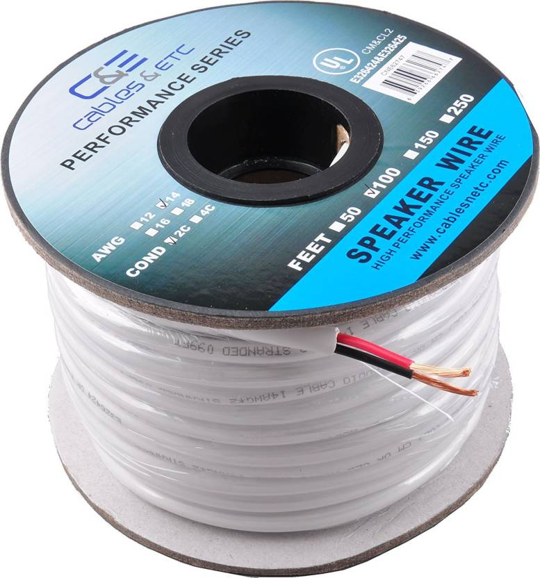 C&E TV-out Cable 100 Feet 14AWG CL2 Rated 2-Conductor Loud Speaker ...