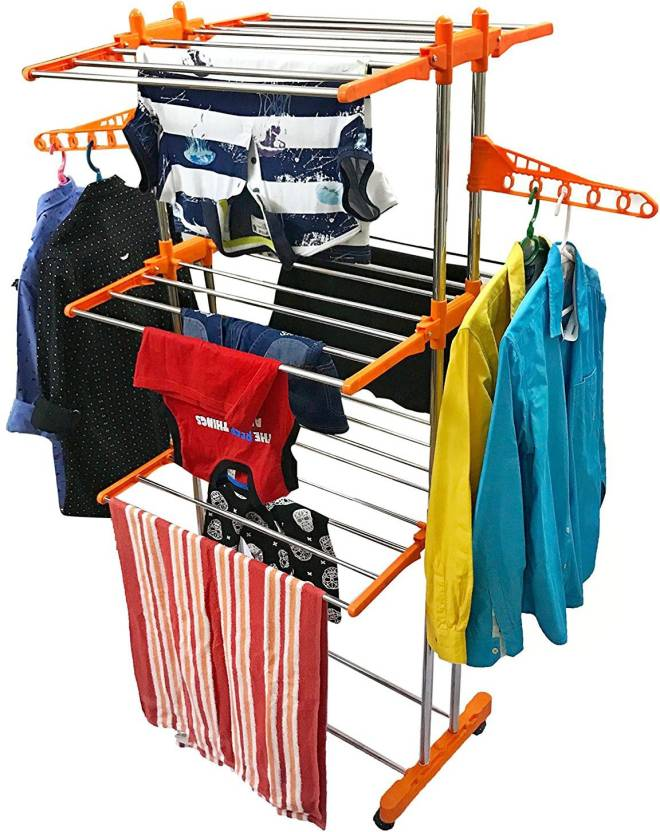 TNC 2 POLL HEAVY DUTY INDIAN MADE WITH EXTRA TWO HANGERS (LIFE TIME USE)  WITH 6 PS OF HANGER AND LAUNDRY BAG Stainless Steel Floor Cloth Dryer Stand