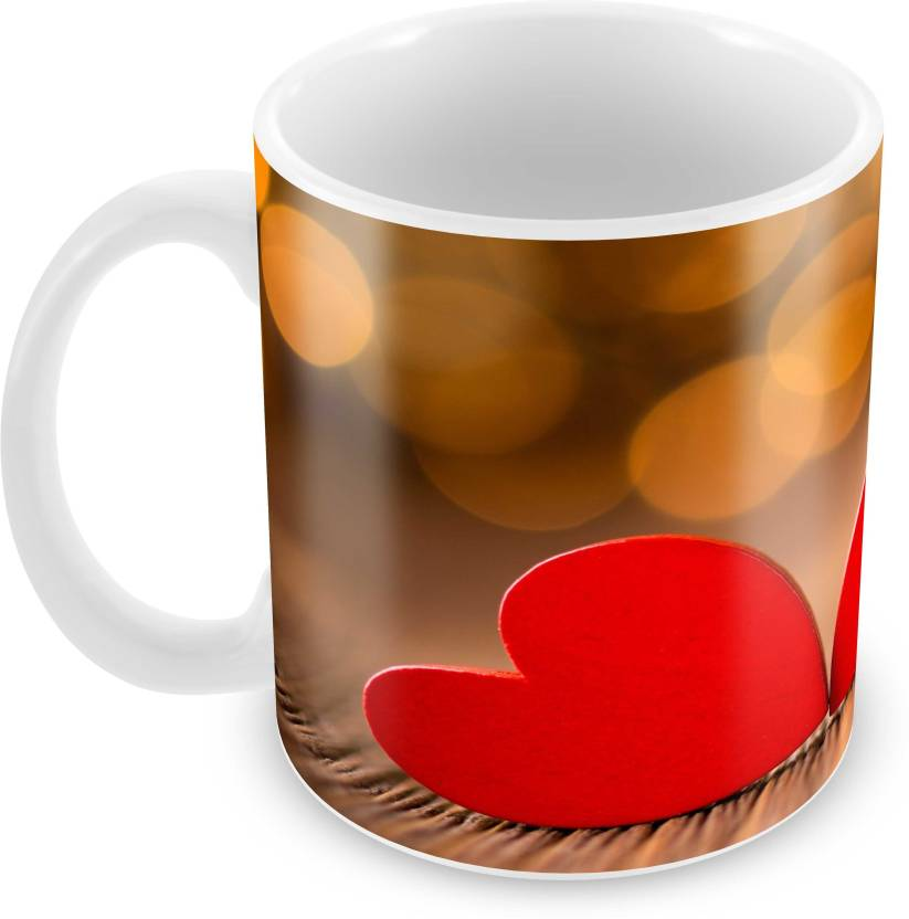 d392c084b Tuelip Printed Beautiful Design of Two Heart for Tea And Coffee 350 ml  Ceramic Mug (350 ml)