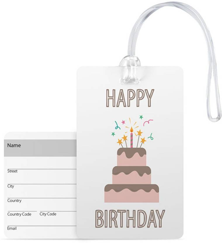100yellow Luggage Tags Happy Birthday Printed Pvc Bag Tag With Silicon Strap Ideal For Gift Multicolor