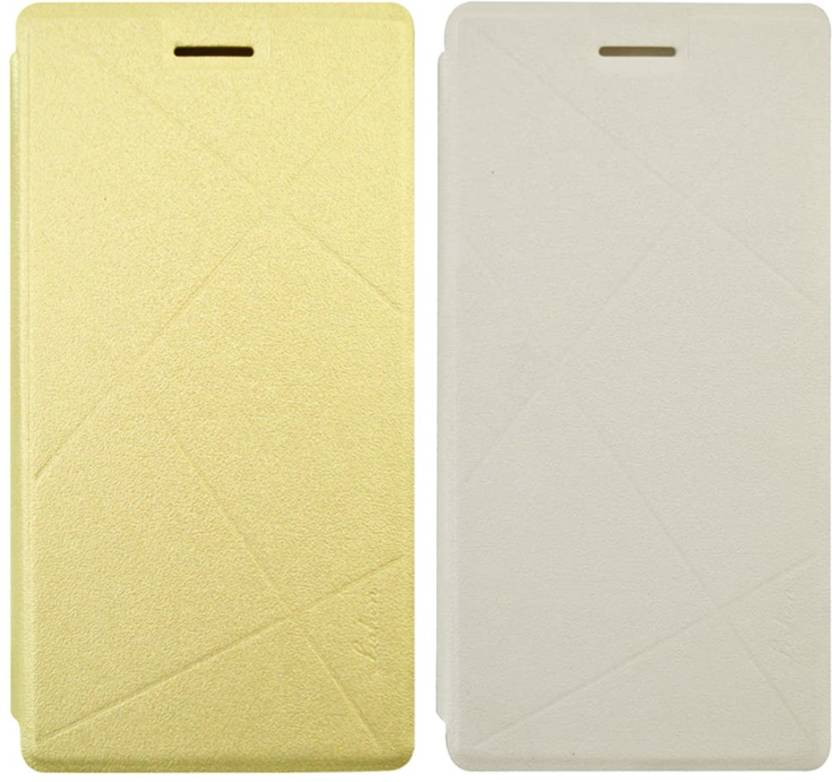 COVERBLACK Flip Cover for Samsung On5 Pro Gold, White