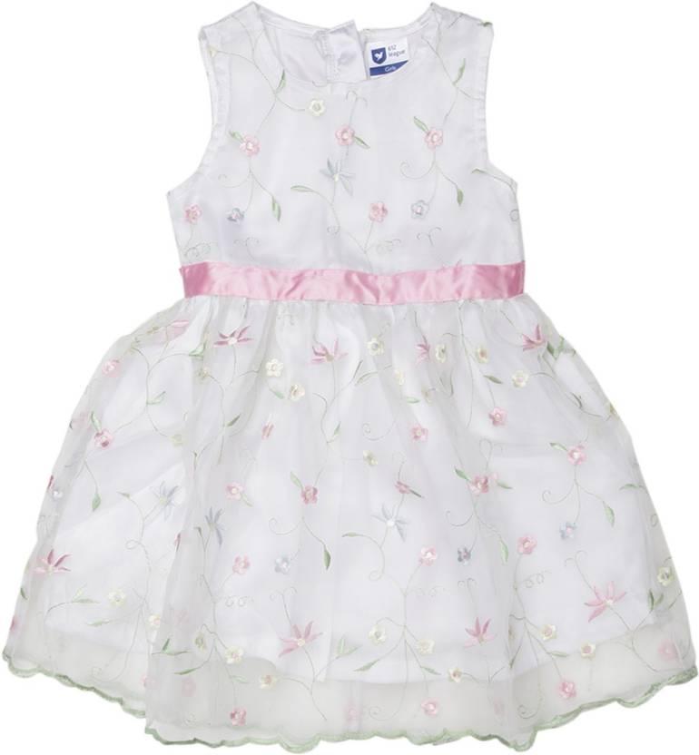 612 League Girls Midi/Knee Length Casual Dress(White, Sleeveless)