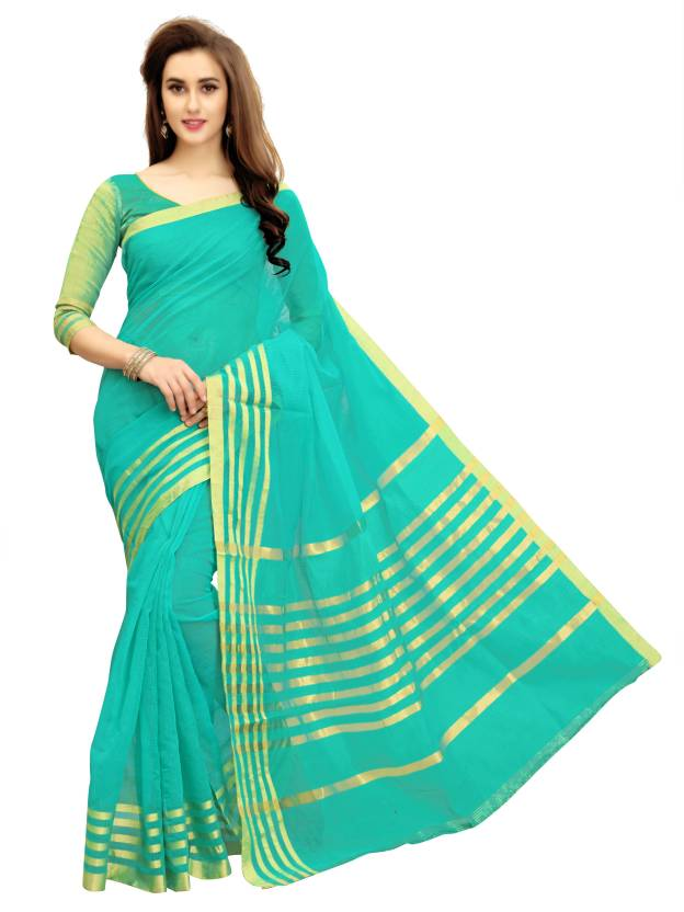 Glory Sarees Woven Manipuri Cotton Polyester Blend Saree  (Blue)