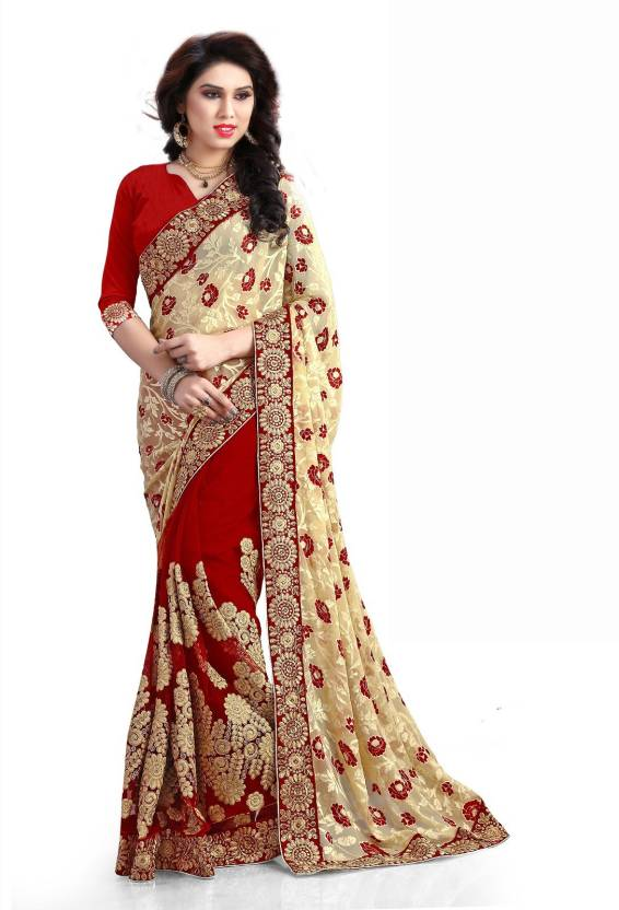 Indian E Fashion Embellished, Self Design Fashion Georgette Saree