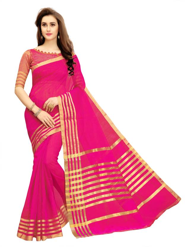 Glory Sarees Woven Manipuri Cotton Polyester Blend Saree  (Pink)