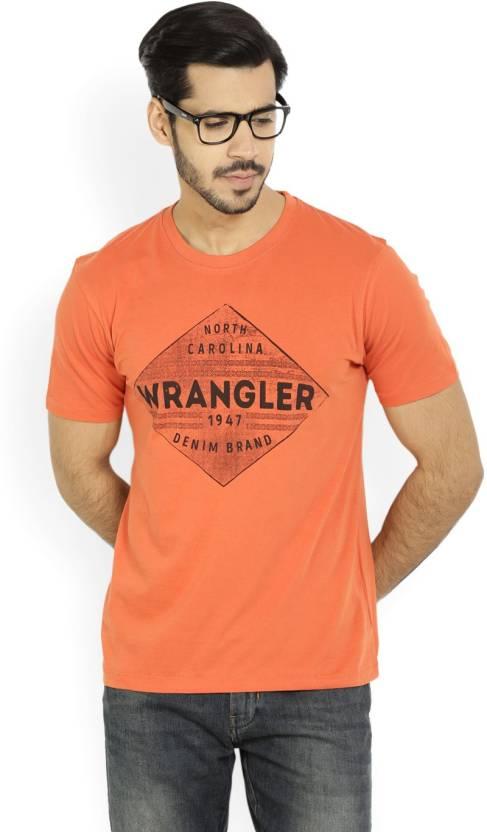 c0b5d8d39b7 Wrangler Printed Men s Round Neck Orange T-Shirt - Buy Chili Wrangler  Printed Men s Round Neck Orange T-Shirt Online at Best Prices in India