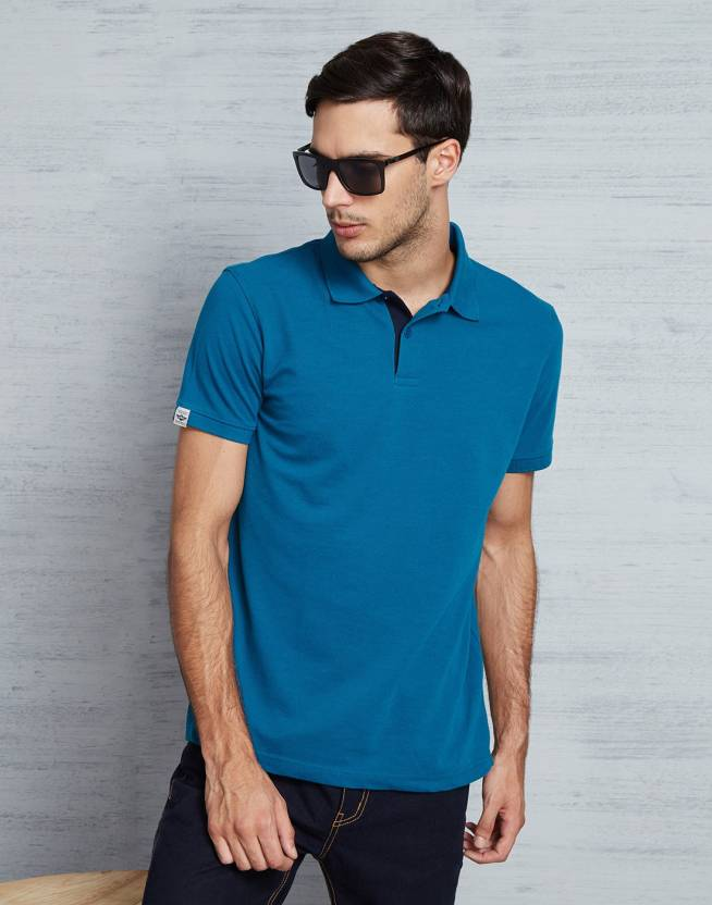 Metronaut Solid Mens Polo Neck Blue T-Shirt