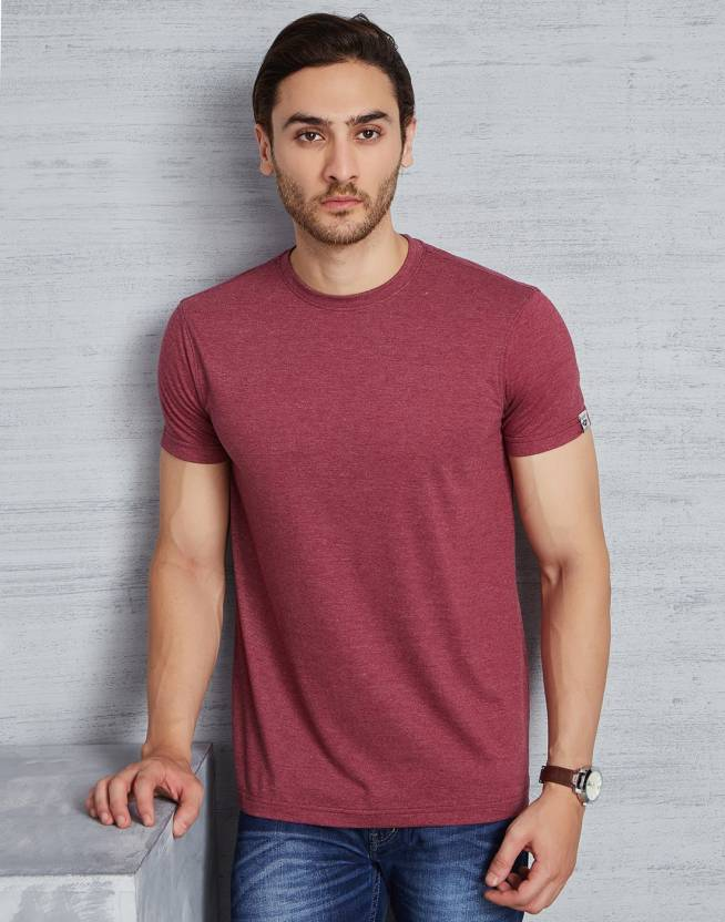 Metronaut Solid Mens Round Neck Maroon T-Shirt