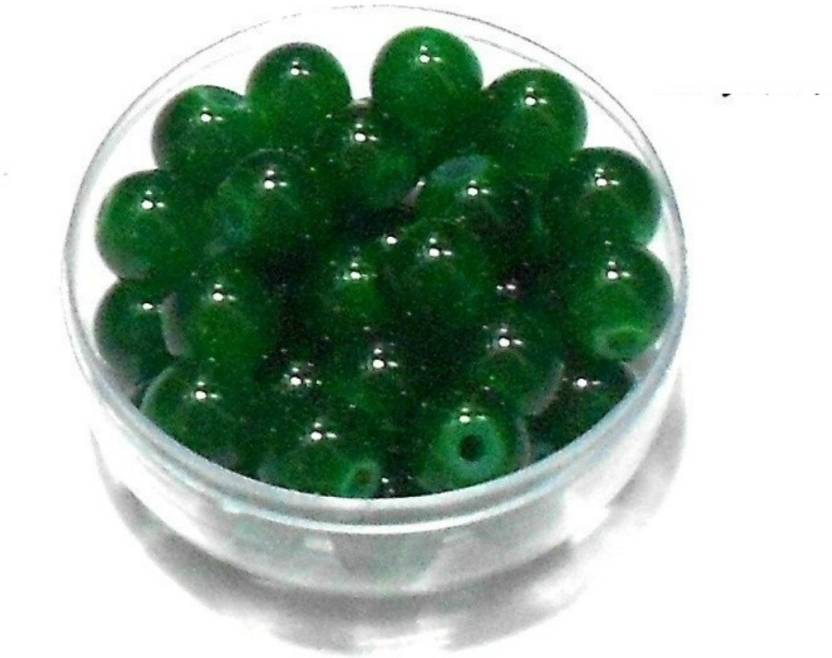 Goelx Gl Beads Green Round 100 For Jewellery Making Crafts Bead Size 8mm