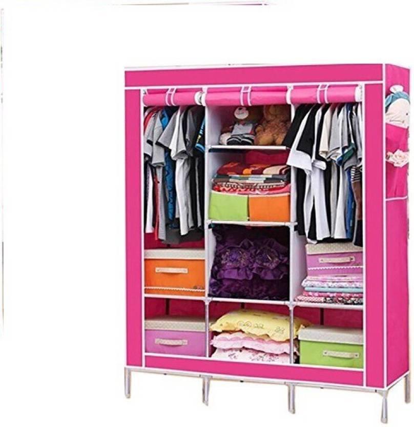 Karp Wardrobe Portable Storage Organizer Closet Non Woven Canvas Folding Fabric Aluminium Collapsible Finish Color Rose Red