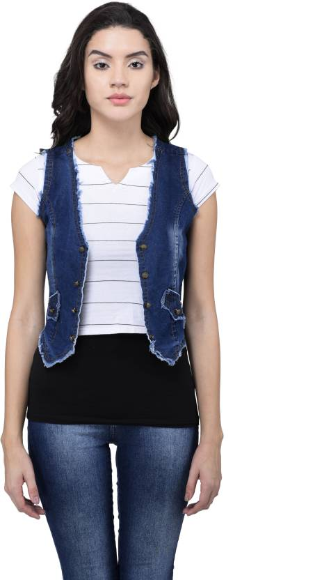 02e4cf17e522c Style Souk Sleeveless Solid Women NA Denim Jacket - Buy Style Souk  Sleeveless Solid Women NA Denim Jacket Online at Best Prices in India