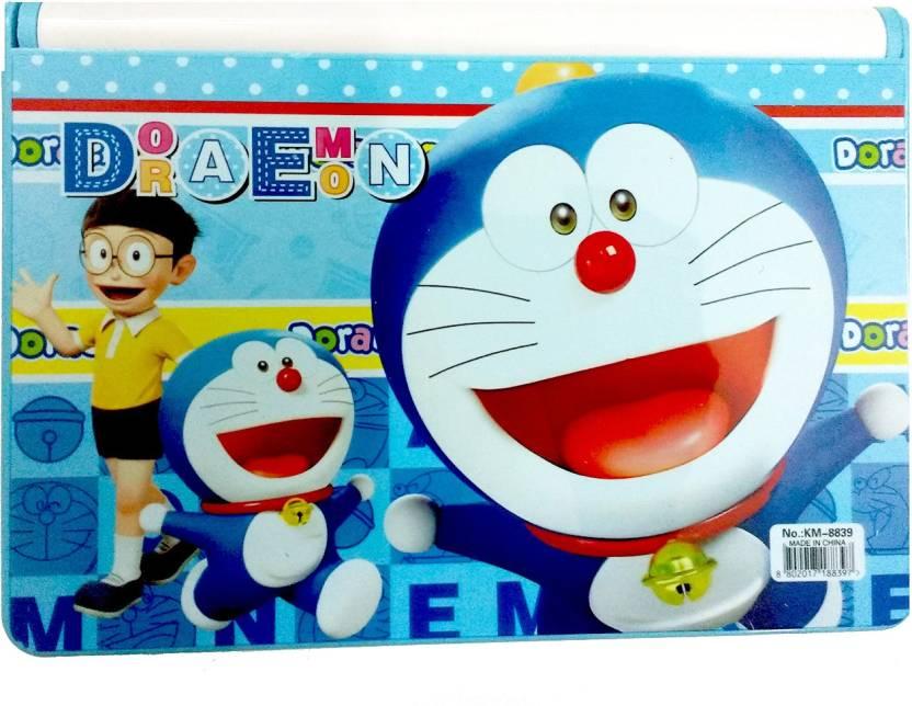 NeoTask Bookshelf Doraemon smart Kids Cartoon Art Plastic Pencil Box (Set of 1, Blue)