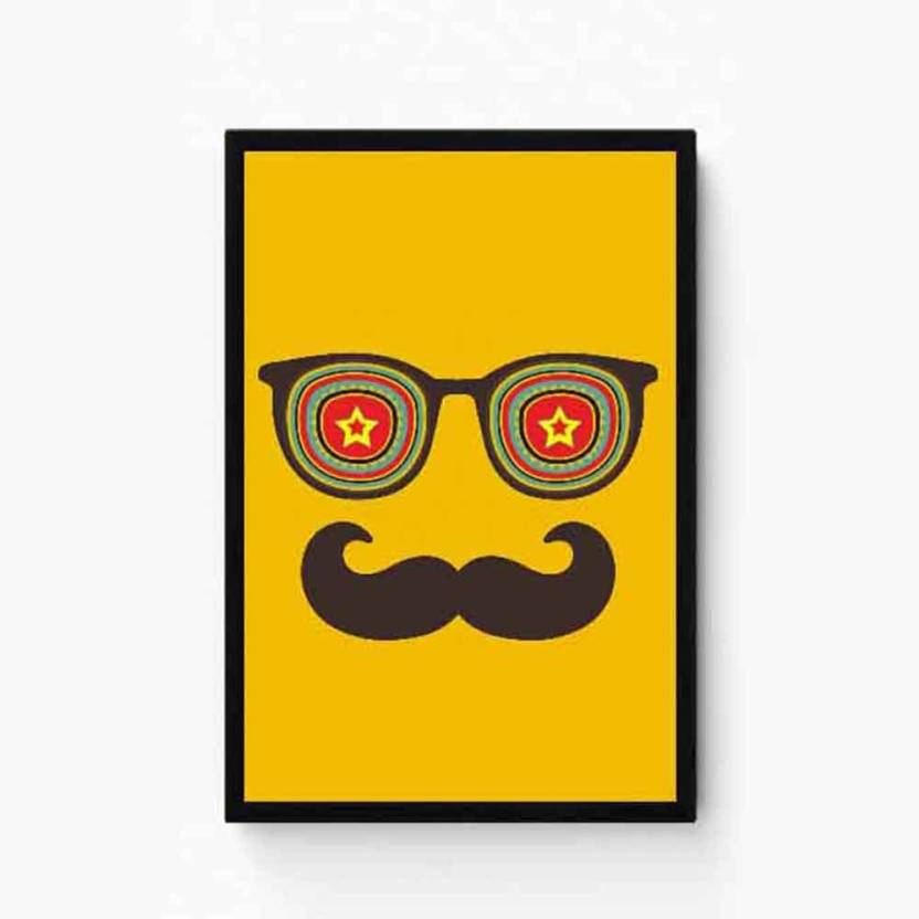 633c32154fc5 Moustache with google Paper Print - Decorative posters in India ...