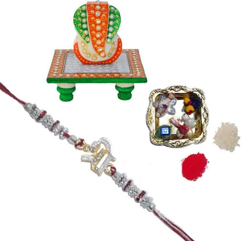 eCraftIndia Bracelet Rakhi  (1 Designer Single Rakhi, 1 Decorative Pooja Plate, 1 Charismatic Lord Ganesha Marble Chowki)-63% OFF