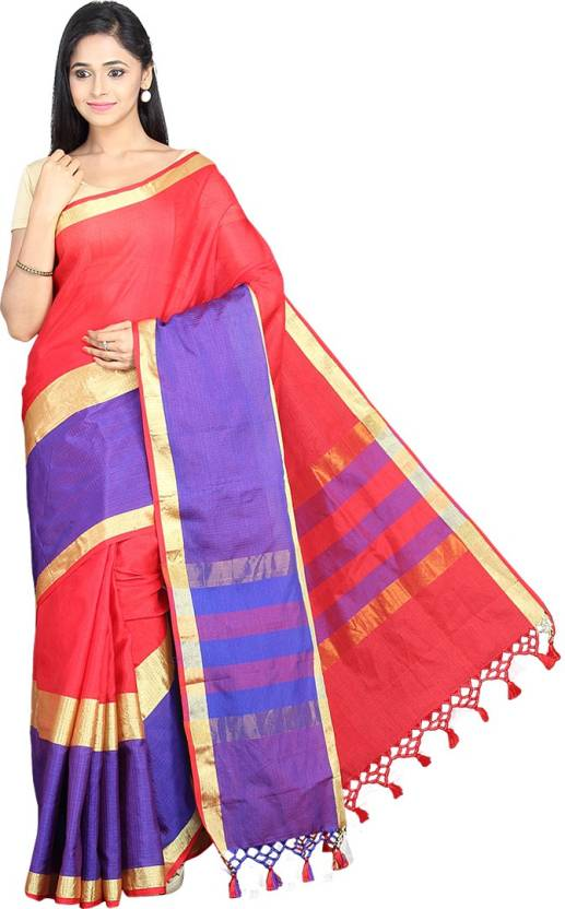Pavechas Striped Banarasi Silk Cotton Blend Saree