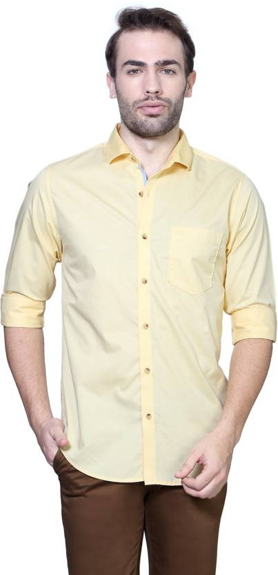 e38a82832308 Peter England Men Solid Casual Yellow Shirt - Buy Yellow Peter England Men  Solid Casual Yellow Shirt Online at Best Prices in India