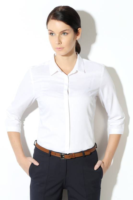 Van Heusen Women Solid Formal White Shirt - Buy White Van Heusen Women  Solid Formal White Shirt Online at Best Prices in India  f6bc3b423