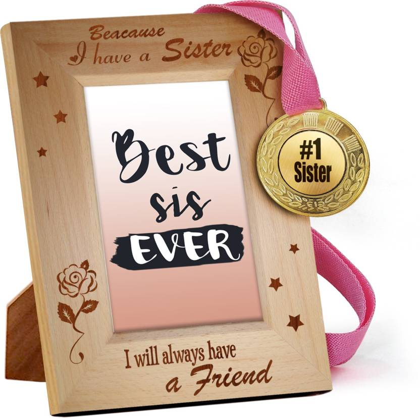 Tied Ribbons Raksha Bandhan Gifts for Sister Engraved Wooden Photo ...