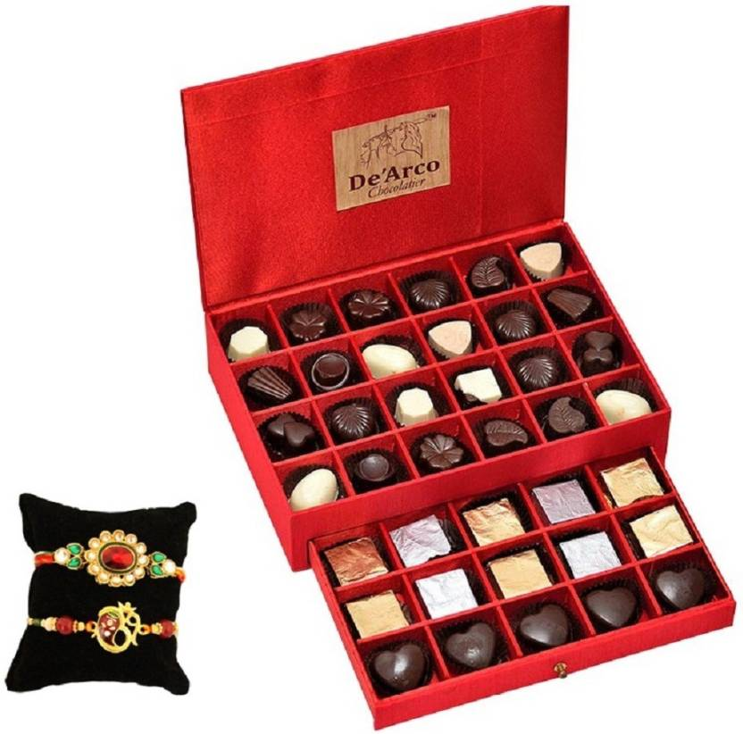 De Arco Beautiful Rakhi With Premium Chocolate Box Assorted Gift Box