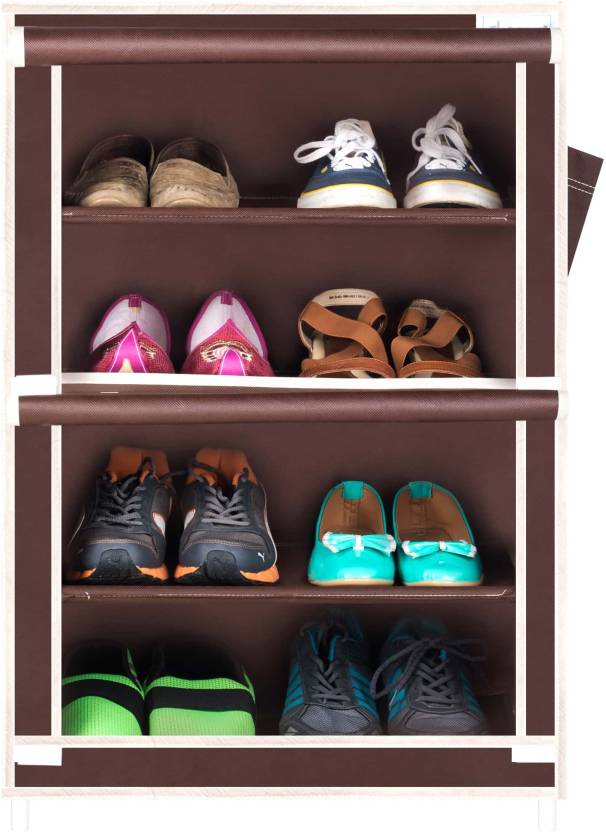 CbeeSo Metal Collapsible Shoe Stand Brown, 4 Shelves