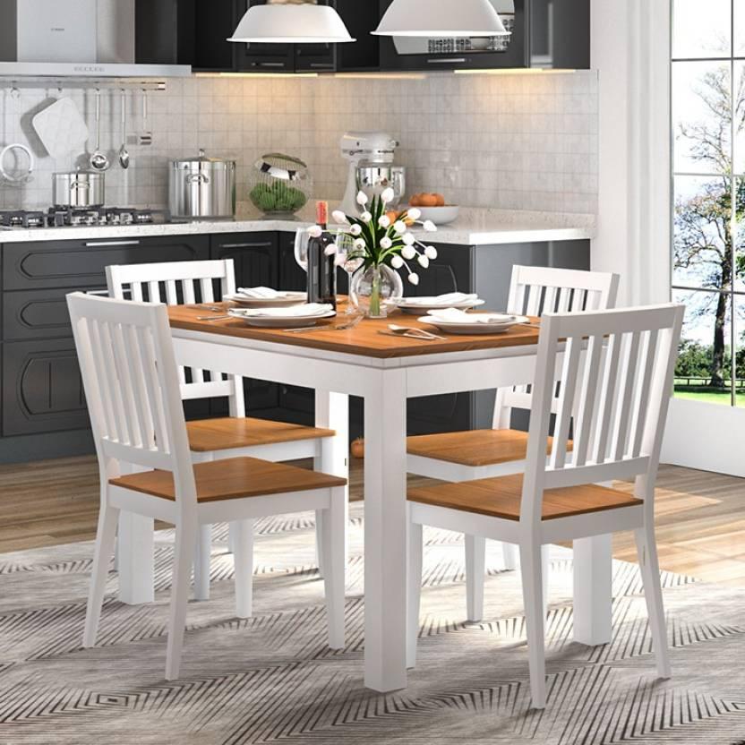 Urban Ladder Diner Solid Wood 4 Seater Dining Table Finish Color Golden Oak