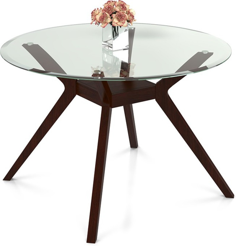 Urban Ladder Wesley Round Glass Top Glass 4 Seater Dining Table (Finish  Color   Dark Walnut)