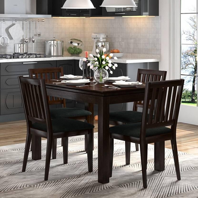 Urban Ladder Diner Solid Wood 4 Seater Dining Table Finish Color   Dark Walnut