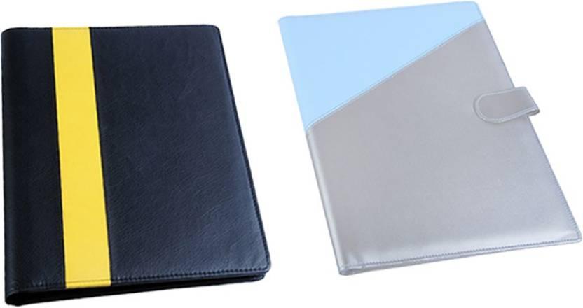 Flipkart.com | COI leatherite blue/silver and black/yellow file ...