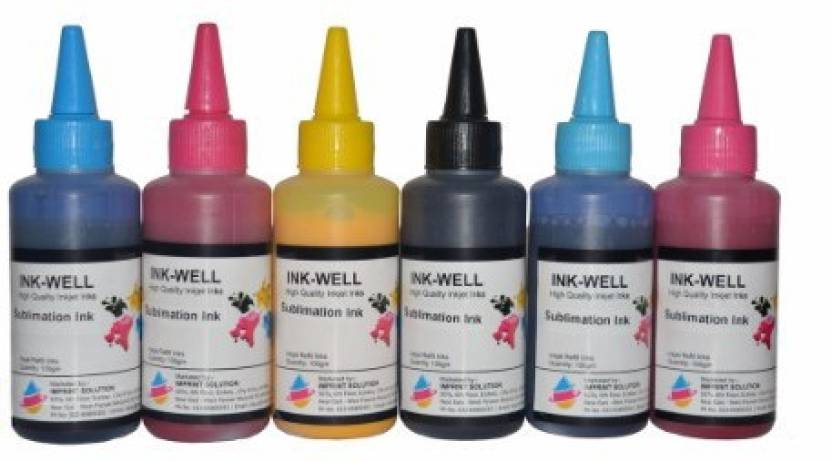 Ink Well Sublimation Ink - BK, C, M, Y, LC, LM - 6 Colors set Compatiable  Ink with Epson L800 / L1800/L805/L850/L810 printers Multi Color Ink