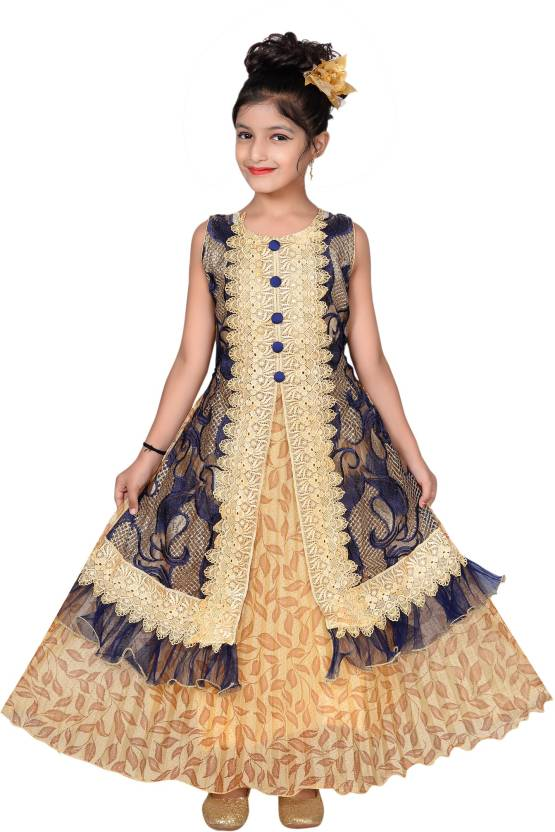 Sky Heights Girls Maxi/Full Length Party Dress  (Multicolor, Sleeveless)