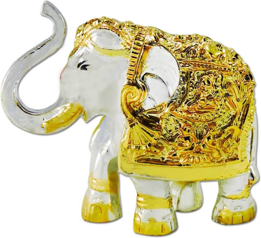 Ratnatraya Feng Shui Jeweled Trunk Up Elephant Statue For Fertility