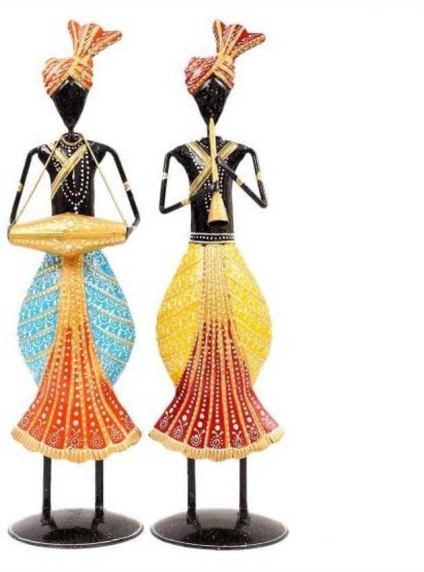 Kolambas Metal Statue Tribal Musicians Figurine Set Of 2 Pcs Home