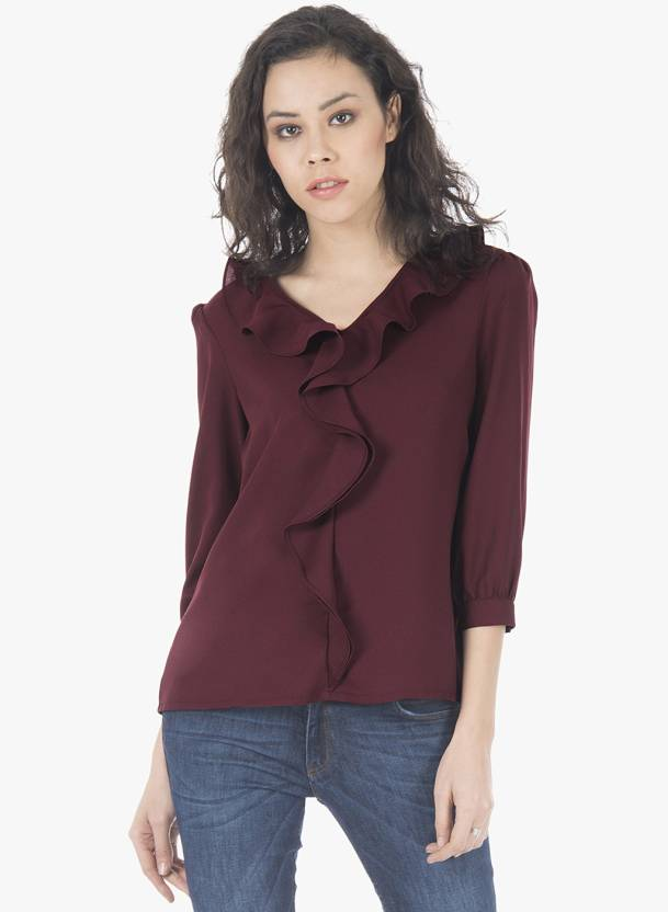 0e7a3950fc5 FabAlley Casual 3 4th Sleeve Solid Women s Maroon Top - Buy Maroon FabAlley  Casual 3 4th Sleeve Solid Women s Maroon Top Online at Best Prices in India  ...