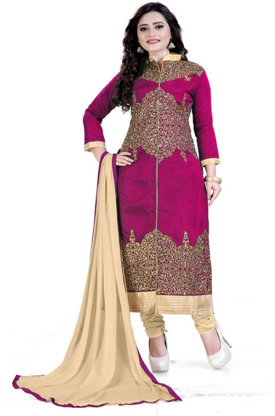 Rudra Fashion Satin Embroidered Semi-stitched Salwar Suit Dupatta Material