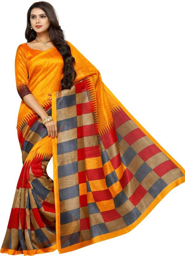 51eea2dc9 V J Fashion Geometric Print Bhagalpuri Art Silk Saree (Multicolor)